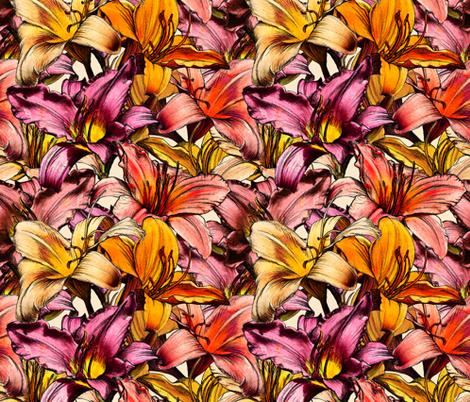 Daylily Drama fabric by micklyn on Spoonflower - custom fabric
