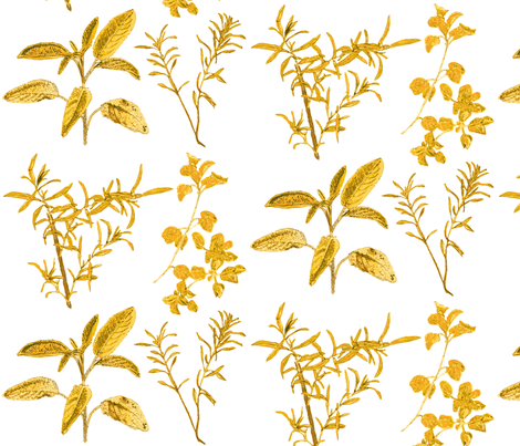 herb_design_10_in_x_12_gold_2-ch fabric by botanica on Spoonflower - custom fabric