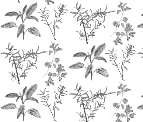 herb_design_10_in_x_12_grey_2-ch fabric by botanica on Spoonflower - custom fabric