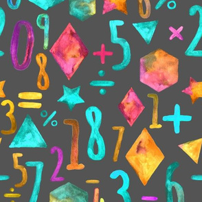 Painting and Numbers - turquoise, magenta & yellow on grey