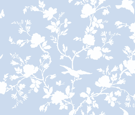 AMES Chinoiserie Silhouette in blueberry fabric by lilyoake on Spoonflower - custom fabric