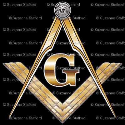 "Large 2"" Masonic Square Compass Black Gold"