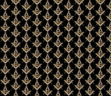 "Large 2"" Masonic Square Compass Black Gold fabric by elemental-design on Spoonflower - custom fabric"