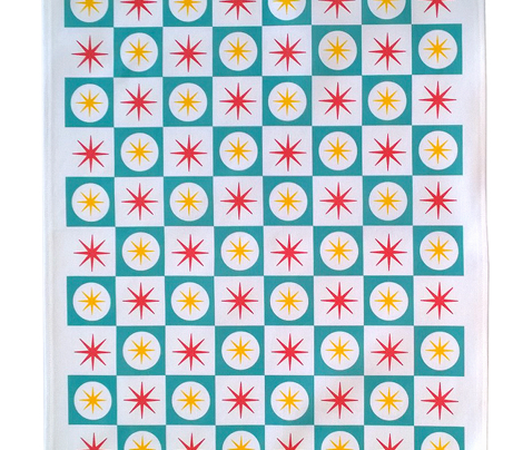 Atomic Blue Tea Towel || midcentury modern atomic stars starburst check checkerboard geometric cut and sew diy kitchen