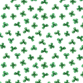 Shamrock Leaves, Bright Green on White