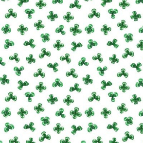 Shamrock Leaves, Bright Green on White