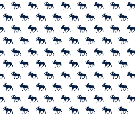 Moose// Navy on White fabric by littlearrowdesign on Spoonflower - custom fabric