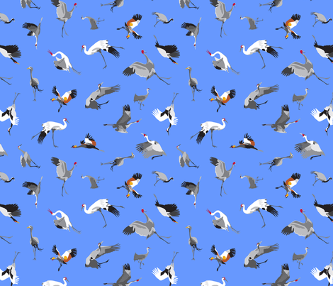 A Family of Cranes fabric by dancingbirdstudio on Spoonflower - custom fabric