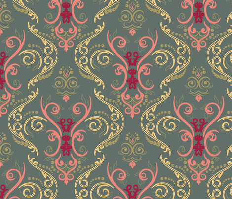 armygreendamask fabric by art_into_life on Spoonflower - custom fabric