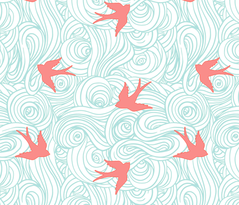 Ocean Flight in Aqua and Coral fabric by willowlanetextiles on Spoonflower - custom fabric