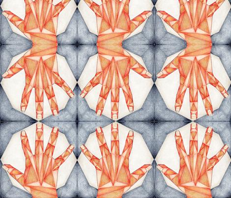 Geometric Hand by Moonlight fabric by crafty_bug_lady on Spoonflower - custom fabric