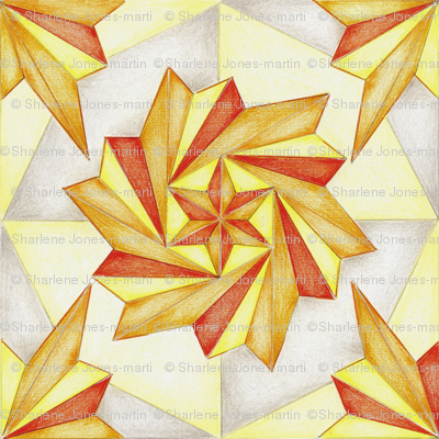 Orange Pinwheel Firecracker Abstract New Year Celebration