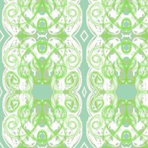 Damask- green blue