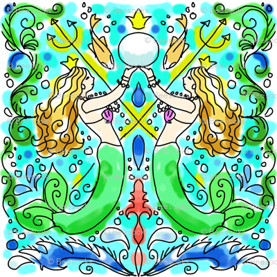 watercolor mermaid tile