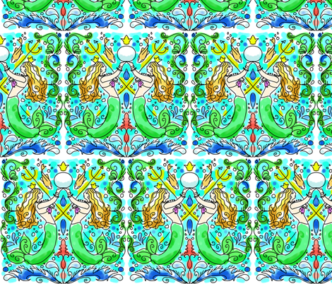 watercolor mermaid tile fabric by beesocks on Spoonflower - custom fabric