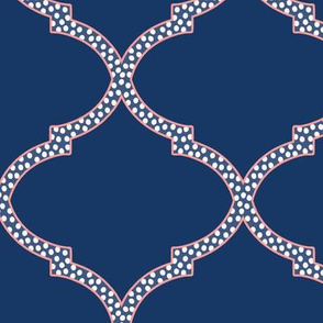 Valencia Trellis in Navy and Pink