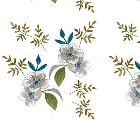 Hawthorn Flowers fabric by flossies_garden on Spoonflower - custom fabric