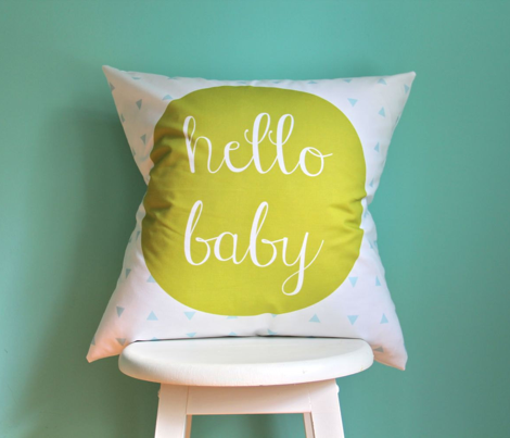 Hello Baby Citron Aqua Pillow Cover // 18""