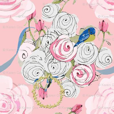 Shabby Chic Ribbons and Roses on pink