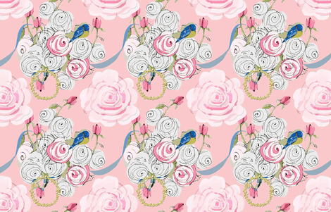 Shabby Chic Ribbons and Roses on pink fabric by karenharveycox on Spoonflower - custom fabric