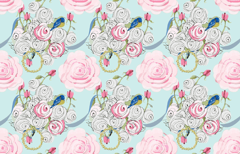Shabby Chic roses, bluebirds and ribbons on Paris blue fabric by karenharveycox on Spoonflower - custom fabric