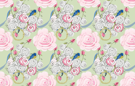 Shabby Chic Roses and Bluebirds fabric by karenharveycox on Spoonflower - custom fabric