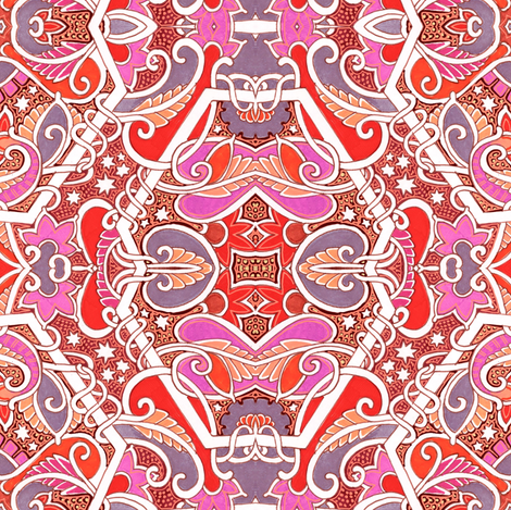 Red Collusion With a Midnight Sky fabric by edsel2084 on Spoonflower - custom fabric