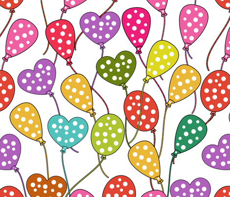 Party Balloons fabric by puggy_bubbles on Spoonflower - custom fabric