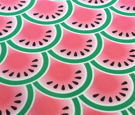 Sandías || watermelon summer picnic seeds clamshell scale slice geometric halftone screen
