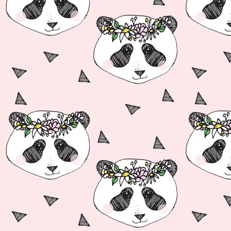 panda pink flower - elvelyckan fabric by elvelyckan on Spoonflower - custom fabric
