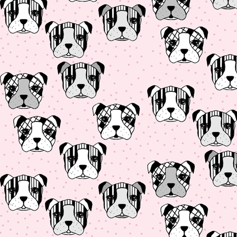 dogs and dots pink fabric by miamea on Spoonflower - custom fabric