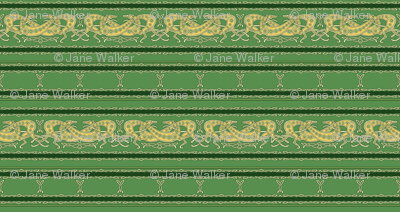 Celtic Knot Gryehounds -Horizontal version- green and yellow