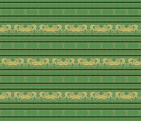 Celtic Knot Gryehounds -Horizontal version- green and yellow fabric by artbyjanewalker on Spoonflower - custom fabric