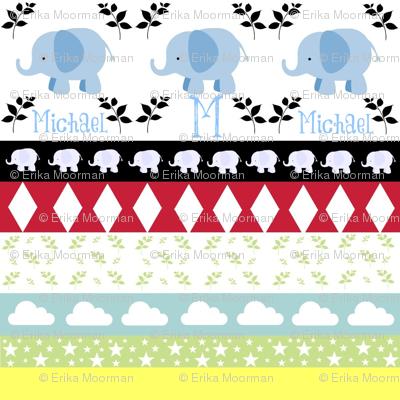 Blue Elephant YaYa diamond quilt-Personalized