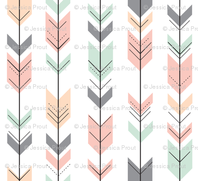 Fletching Arrows // Small Scale // Pink,Grey,Mint,Peach