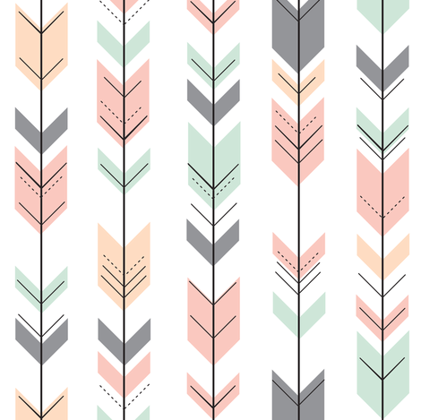 Fletching Arrows // Small Scale // Pink,Grey,Mint,Peach fabric by littlearrowdesign on Spoonflower - custom fabric