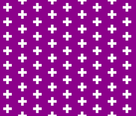 Deep Magenta Crosses - Purple Plus Signs fabric by modfox on Spoonflower - custom fabric