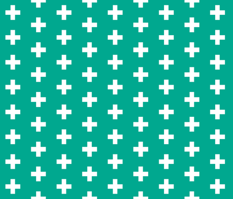 Teal Marine Crosses - Teal Plus Signs fabric by modfox on Spoonflower - custom fabric