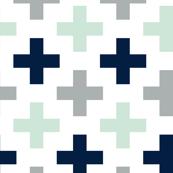 Multi Cross // Northern Lights - grey/navy/mint