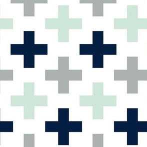 Multi Cross // Northern Lights - grey/navy/mint