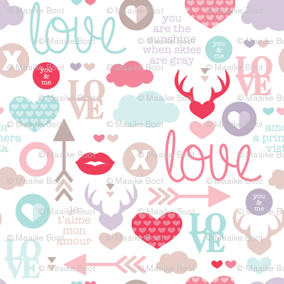 Love for Valentine hearts deer lips cupid arrows and text design