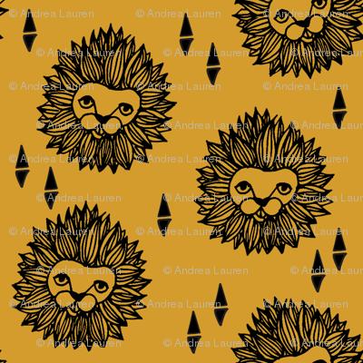 lion // lion head yellow mustard gold kids safari nursery sweet animal zoo