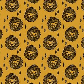 lion // lion head yellow mustard gold kids safari nursery sweet animal zoo