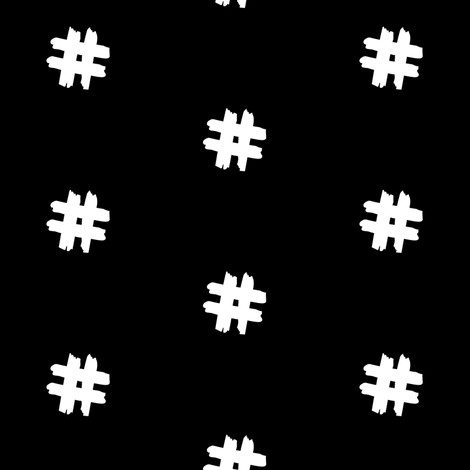 white hashtag on black fabric by pencilmein on Spoonflower - custom fabric