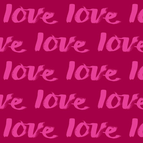 love text pink on red