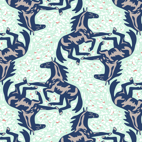 Trendy Horse Jumble fabric by eclectic_house on Spoonflower - custom fabric