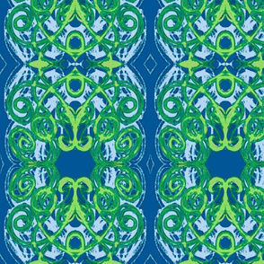 Damask- dark blue dark green