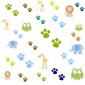 Zoo animals footprints -blues