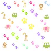 zoo animal footprints -pinks