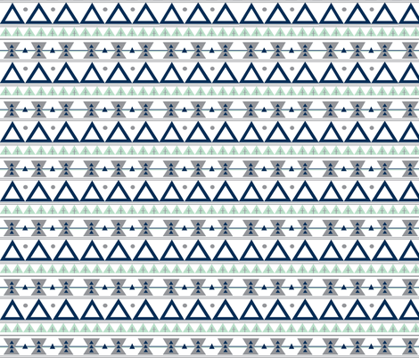 Tribal in Navy, Grey, and Mint - Triangles fabric by modfox on Spoonflower - custom fabric